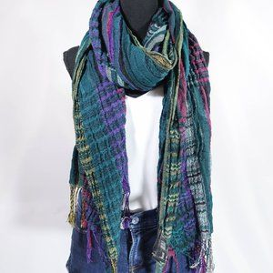 multicolor fall winter scarf with fringe